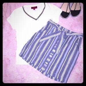 New Button Down Striped Chambray Mini Skirt